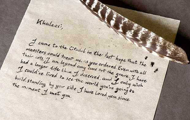 Game of Thrones Jorah's letter to Daenerys